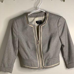 Bebe tweed suit jacket navy and white
